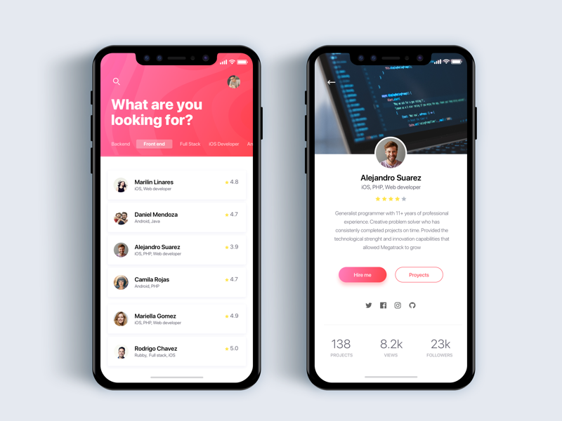 Discovery programmers app - Daily UI Challenge 43/365 search find people app ux ui ui design ux design user experience user interface interaction design