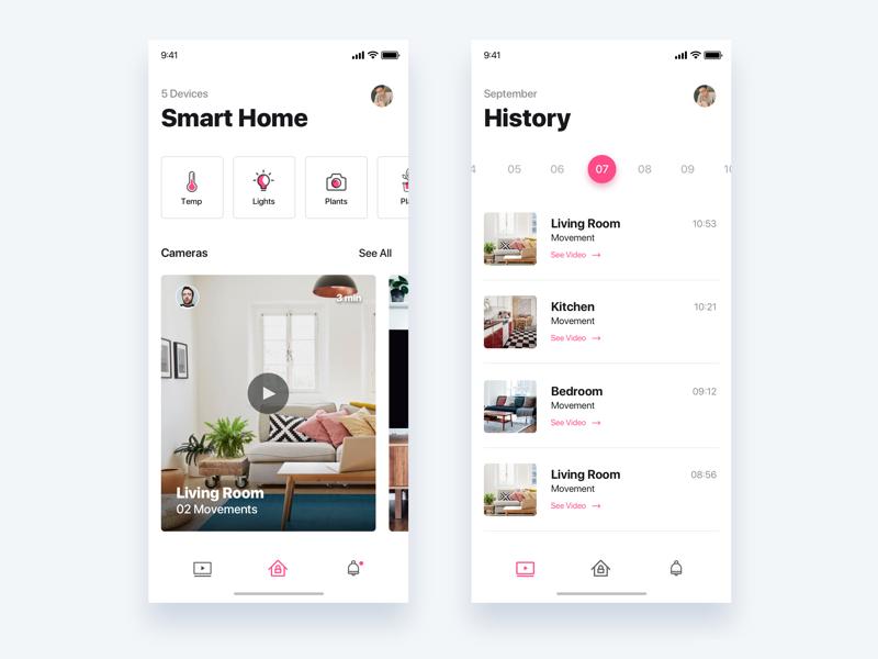 Smart home app - Daily UI Challenge 47/365 camera smart home iphonex clean design app ux ui ux design user experience interaction design