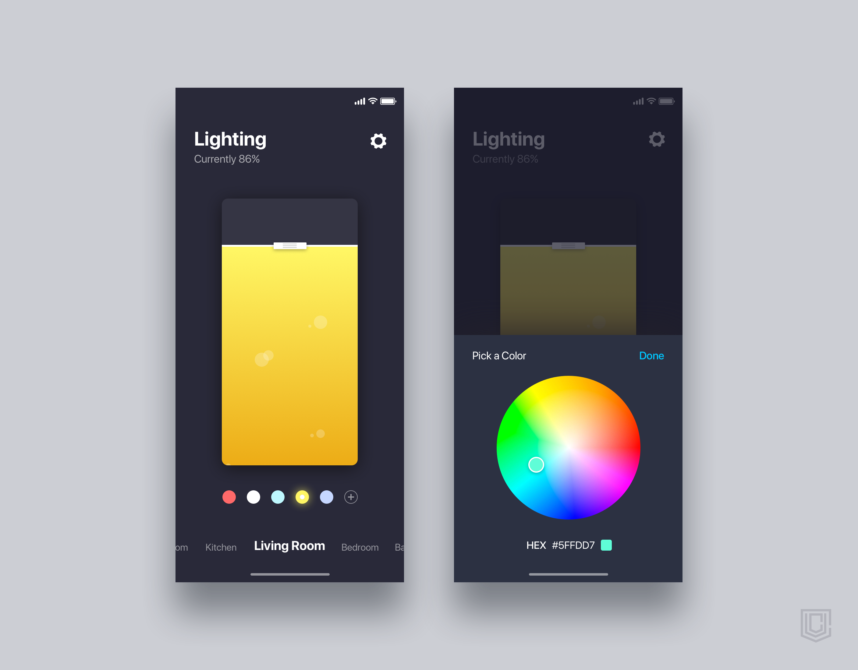 Smart home app for control the lighting    daily ui challenge