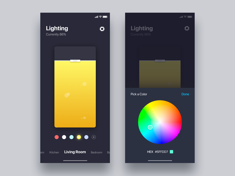 Smart home app for control the lighting  - Daily UI Challenge web design app minimalist iphonex dashboard ux ui ux design user experience interaction design
