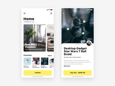 App for find decoration ideas - Daily UI Challenge web design app minimalist cards furniture ux ui ux design user experience interaction design