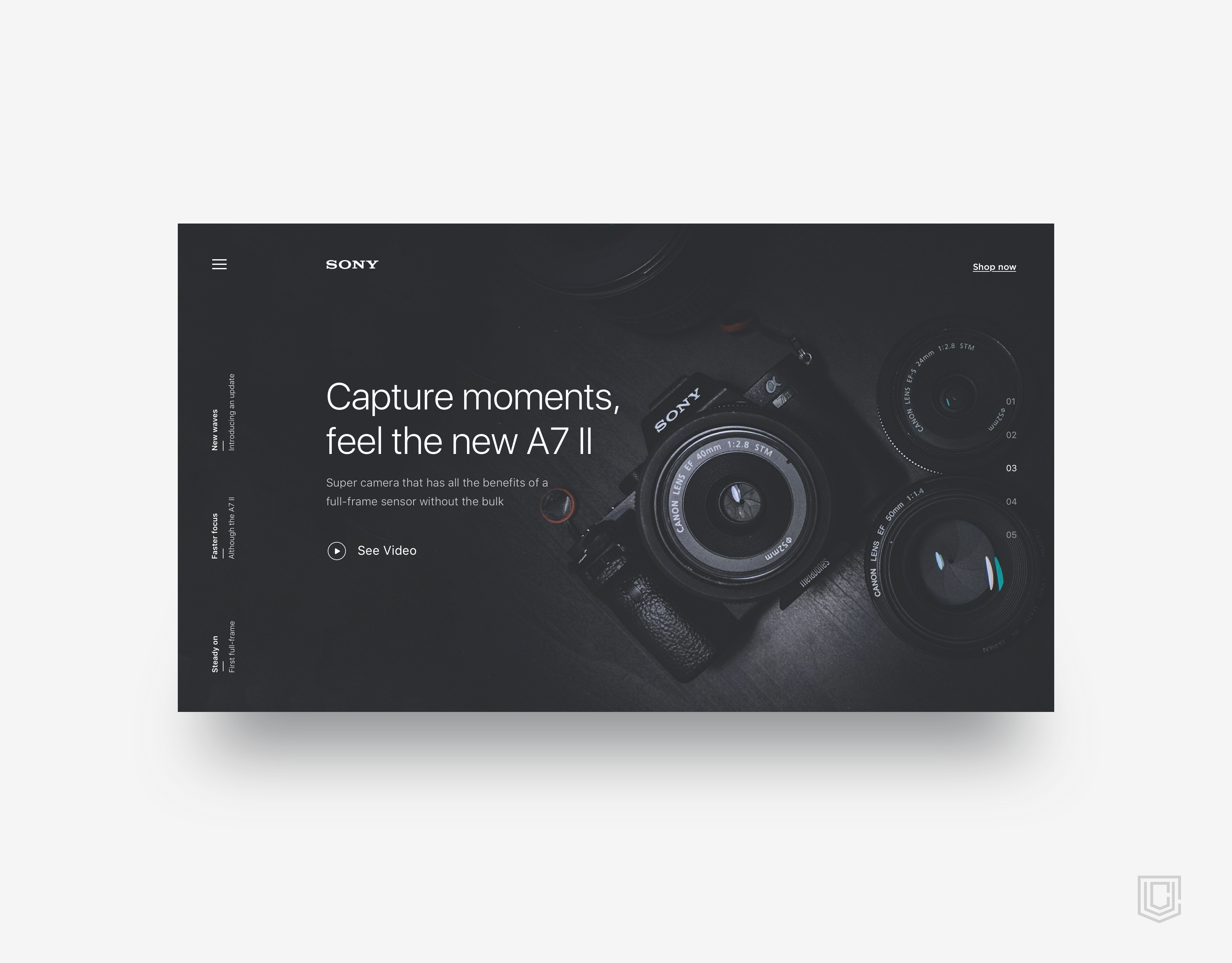 Landing page for sony   daily ui challenge