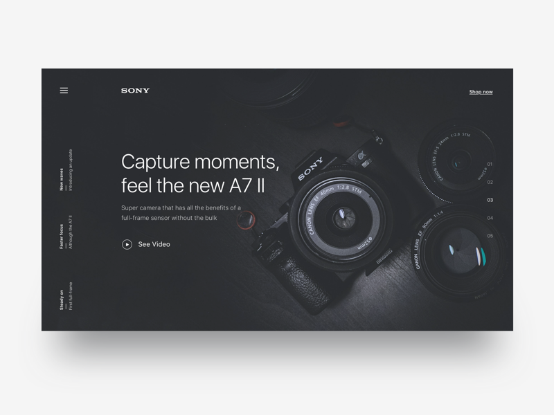Landing page for Sony - Daily UI Challenge interaction design user experience ux design ui ux landing page sony minimalist app web design