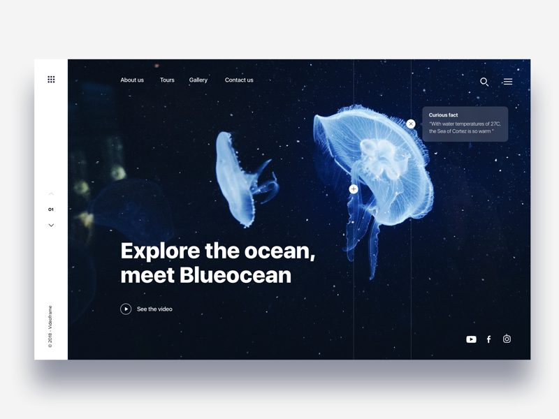 Landing page diving in ocean - Daily UI Challenge web design website langing page dark ui animal clean interaction design visual design user experience user interface ui ux