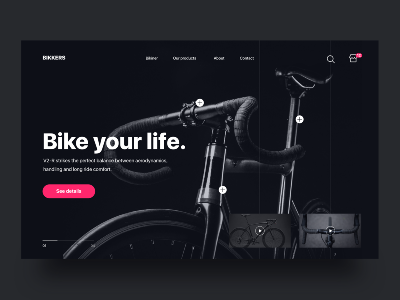 Bikkers landing page - Daily UI Challenge ecommerce ux design ui design app interaction design interface dark user interface user experience visual design clean design bike animation interaction dark ui web design landing page ui ux ui  ux design