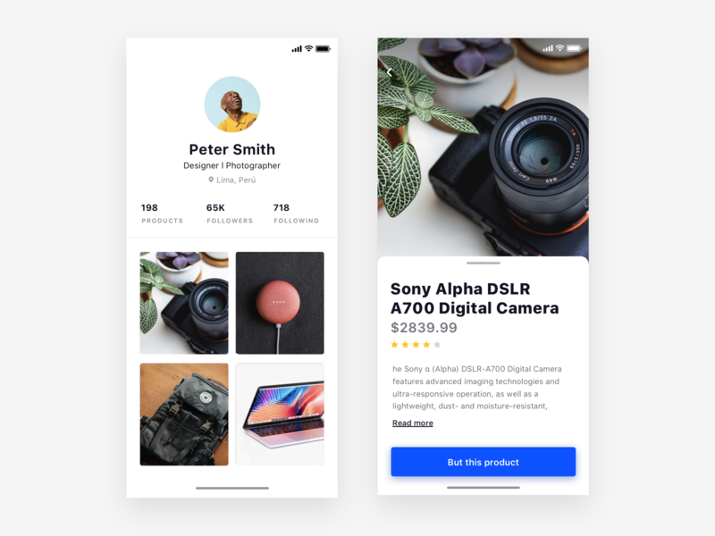 Gallery app, for sell/buy products - Daily UI Challenge visual ux daily challange ios apple minimal perfil photo iphonex gallery clean interface ui design design app user interface ux design interaction design user experience ui