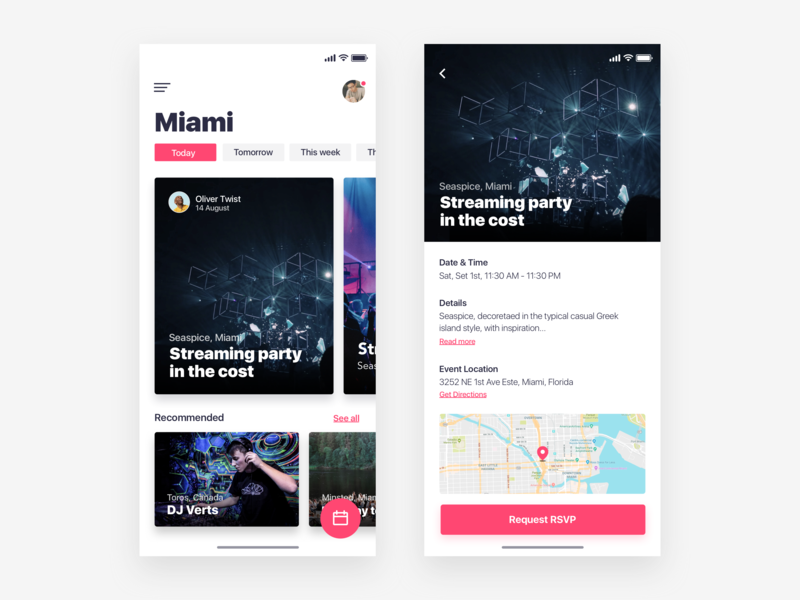 Discovery Event App  - Daily Ui Challenge book event event detail home ux animation apple iphonex interaction visual design minimalist clean event map illustration interface design app interaction design user experience ux ui