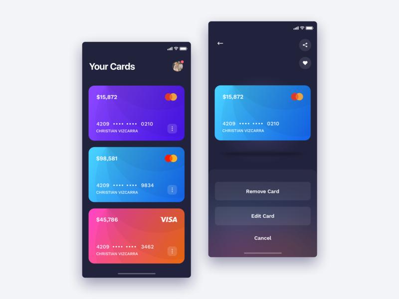 Wallet design app - credit card ui design design animation buttons bank shopping online sales dark ui button user card clean user experience user interface ios wallet app credit card ux  ui ux wallet
