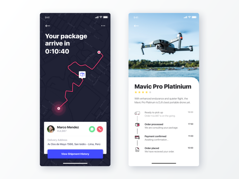 Track Package Ecommerce - UI Concept app interaction design typography ui design clean app interface visual technology ui  ux design clean ecommerce app map tracking app tracking checkout ecommerce user interface user experience ui  ux ui