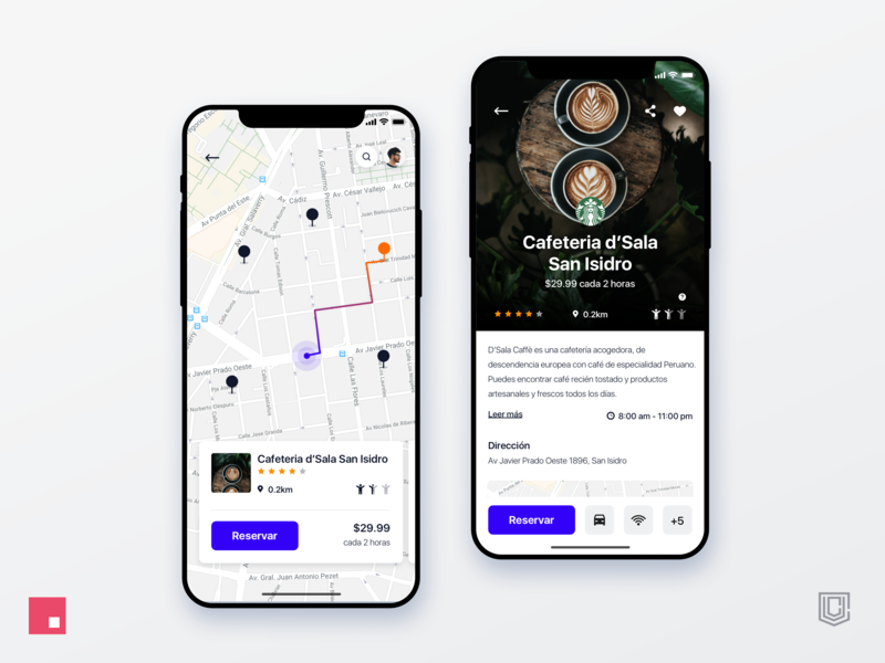Coffeespace app, looking for a place to work invision studio interaction design clean iphonex iphonexs ios interface design app design rank app book app workspace coffee detail page cards map ux design ui desgin ux ui app