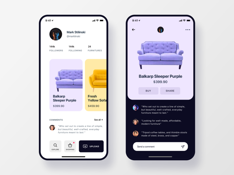 Furniture Social App Concept profile light dark ios interface user experience ui design clean illustration interaction design user interface ux design design app furniture app ikea furniture cards ux  ui ux ui