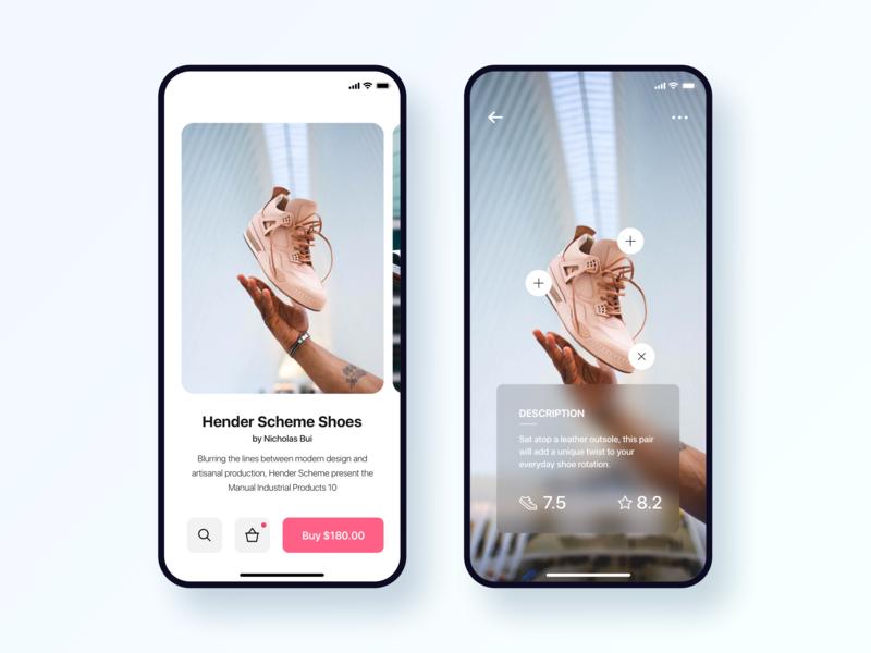 Ecommerce App Concept clean blur user experience interaction design app user interface ux design ui design ux  ui cards ui product detail profile nike adidas shoes ecommerce vr cards ecommerce app ecommerce