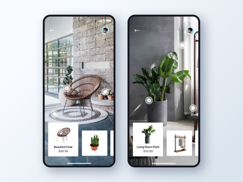 Furniture Ecommerce App Concept ui design cards design cards ios design invision studio app design ux design user interface ui ecommerce shop interface user experience interaction design app ux clean unsplash vr ecommerce furniture