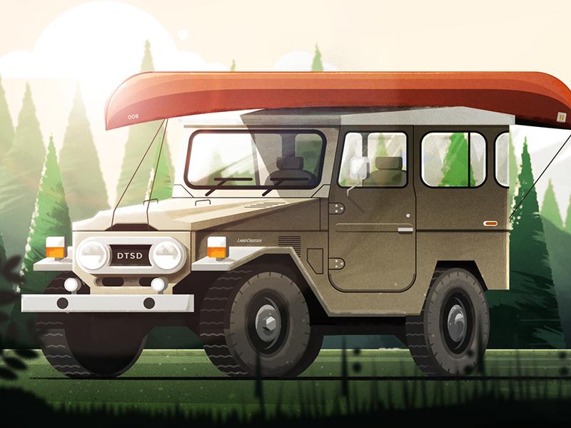 FJ40.2 car canoe texture pnw fj40 photoshop illustrator landscape forest dts illustration down the street designs