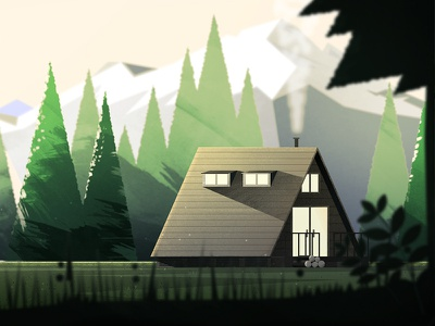 Cabin in the Woods mountain texture pnw cabin photoshop illustrator landscape forest dts illustration animation down the street designs