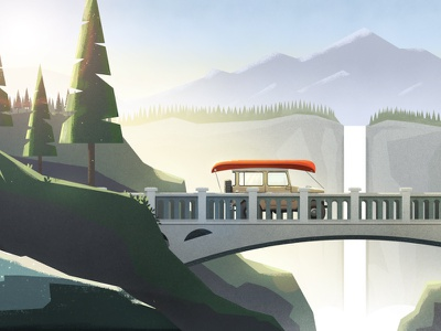 Rollin' on a River waterfall bridge texture pnw river photoshop illustrator landscape forest dts illustration animation