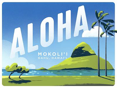 Aloha Friday da paina dts designs down the street designs dts oahu mokolii postcard texture aloha illustration hawaii