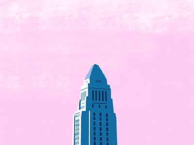 Study (LA City Hall) apple pencil ipad pro down the street designs dts designs dts white pink dtla la los angeles procreate app illustration