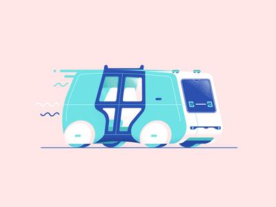 Autonomous Sedric down the street designs illustration tech future drive van car self driving autonomous