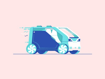 Autonomous Neuv honda down the street designs illustration tech future drive van car self driving autonomous