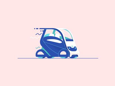 Autonomous EN-V 2.0 chevy down the street designs illustration tech future drive van car self driving autonomous