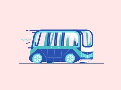 Autonomous Arma navya down the street designs illustration tech future drive van car self driving autonomous