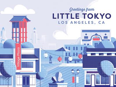 Little Tokyo, Los Angeles down the street designs plaza little tokyo illustration japanese postcard indigo la los angeles