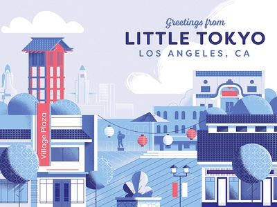 Little Tokyo, Los Angeles down the street designs plaza little tokyo illustration japanese postcard indigo la los angeles