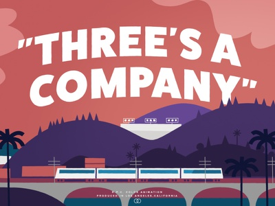 Three's a Company anime motion graphics los angeles title cartoon animation