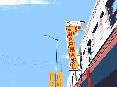 HSM sign signage mall street texture illustration ipad pro create highland park los angeles