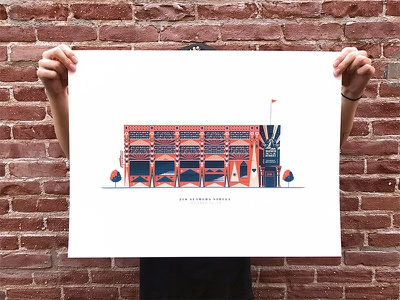 Angel City Brewery Print poster down the street colors print illustration architecture brewery screenprint