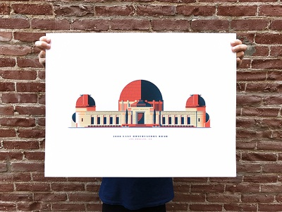 Griffith Observatory screenprint observatory architecture illustration print colors down the street poster