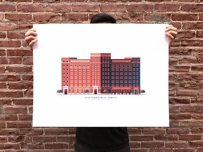 Nabisco Building Print screenprint building architecture illustration print colors down the street poster
