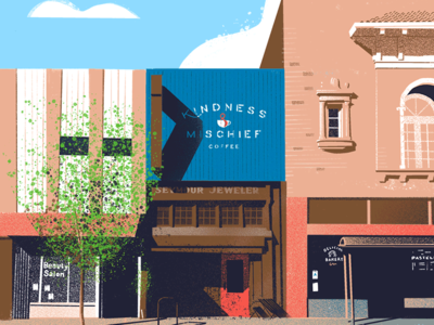 Kindness & Mischief ☕ down the street procreate lighting perspective tree coffee shop painting illustration coffee