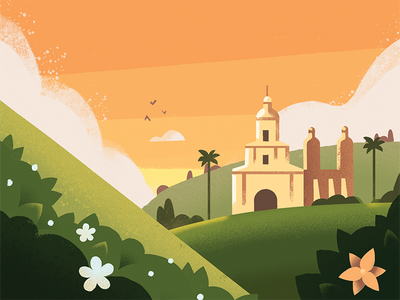 CBTL: Colombia Blend countryside hills orange landscape illustration colombia coffee bean coffee pro create