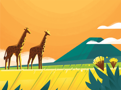 CBTL: Tanzania giraffe mountain orange landscape illustration pro create coffee coffee bean tanzania