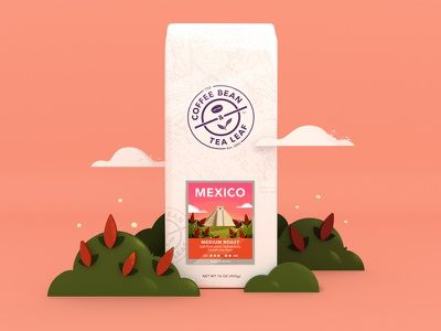 CBTL - Mexico Coffee Bag cinema 4d set bag flowers landscape illustration pro create coffee coffee bean mexico