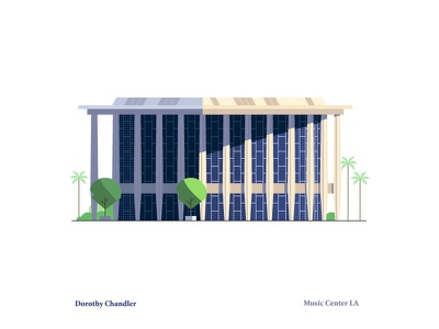 Dorothy Chandler Pavilion downtown trees music los angeles perspective vector building architecture illustration