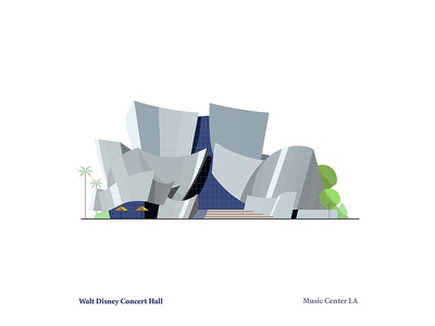 Walt Disney Concert Hall down the street landscape music architecture downtown los angeles concert hall disney illustration