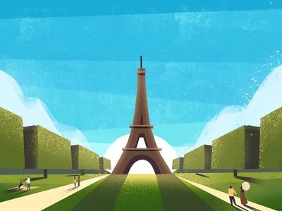 CBTL: French Roast clouds trees sky texture paris eiffeltower france coffee down the street illustration down the street designs