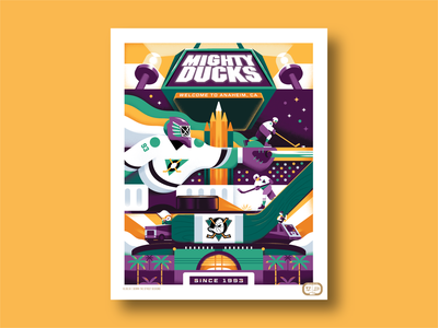 Anaheim Ducks: 25th Anniversary Poster dts dts designs down the street down the street designs color design sports graphic  design ducks texture illustration poster art poster nhl hockey
