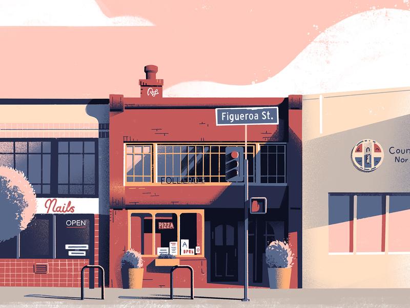 Folliero's texture exploration illustration composition graphic illustration los angeles procreate down the street designs dts designs down the street dts architecture color illustration