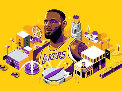 ESPN: Bron Bron Land Banner isometric portrait lebron james purple yellow down the street designs down the street dts lebron espn basketball color illustration