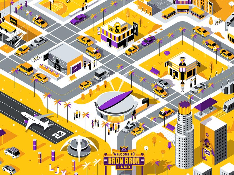 ESPN: Bron Bron Land Map isometric down the street designs down the street dts designs dts map illustrator lakers lebron james sports basketball espn color illustration