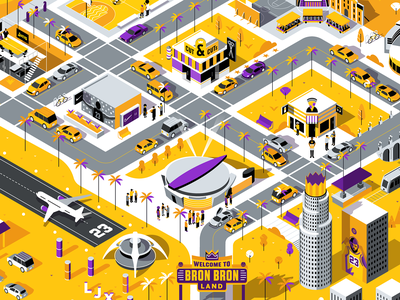 ESPN: Bron Bron Land Map isometric down the street designs down the street dts designs dts map illustrator lakers lebron james sports basketball espn color illustration