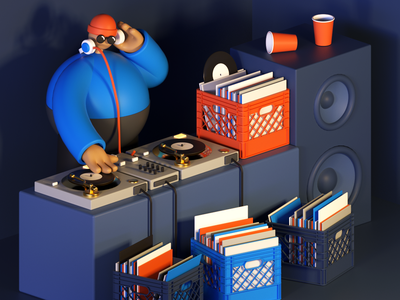 House Party hip hop crates speakers sound system cinema 4d 3d party vinyl turntable dj