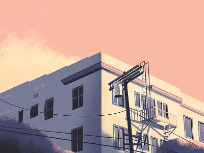 Sanborn Avenue down the street designs down the street dts designs dts painting building architechture procreate composition color la los angeles illustration