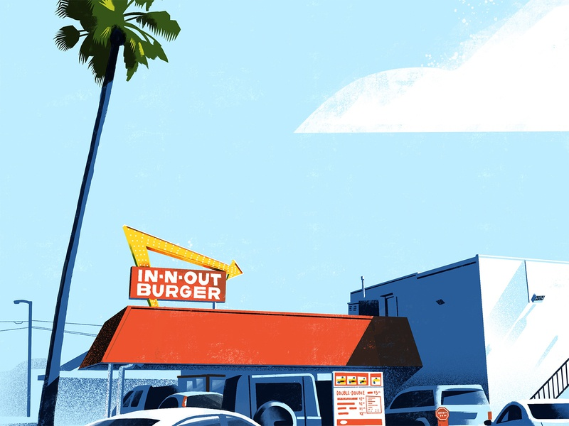 In-N-Out color in n out ino dts designs dts down the street los angeles landscape exploration procreate illustration