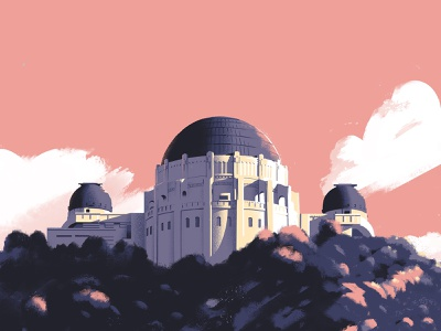 East Observatory Road painting la griffith observatory dts designs down the street dts composition los angeles landscape color illustration