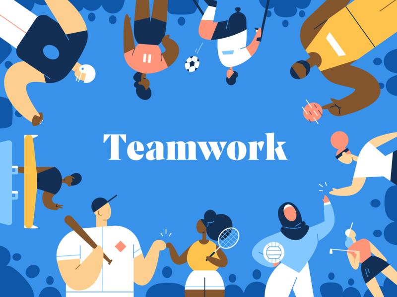 Teamwork down the street designs design down the street dts designs dts sports characters color illustration